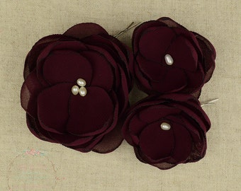 Burgundy Hair Flower - Wine Wedding - Wine Hair Flower - Wine Bridesmaids - Burgundy Flower Girl - Burgundy Brooch - Burgundy Wedding