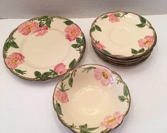 Franciscan Desert Rose  ~ Plate ~ Bowl ~ Set of 7 ~  Pink Roses ~ Desert Rose ~ Vintage