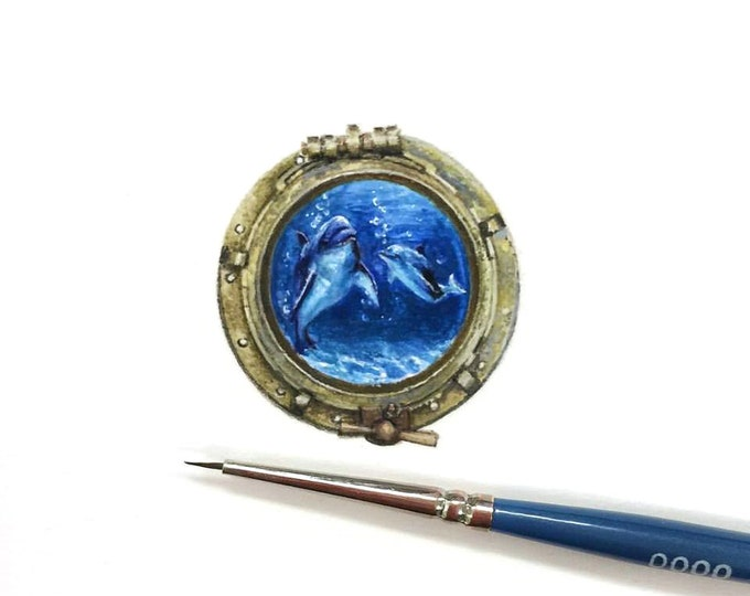 Original Miniature painting of Dolphins in a Porthole. Tiny painting, Dolphins in a Porthole tiny art 5 x 5