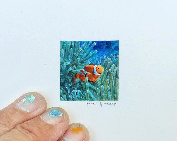 """Print of miniature painting of a Clown Fish (Nemo). 1 1/4""""x1 1/4"""" print of original Clown Fish painting on 5"""" square german etching paper"""