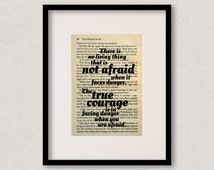 """Wizard Of Oz - Book Quote Print - Inspirational Quote - Birthday Gift - Gift For Best Friend - """"There is no living thing that is not afraid"""""""