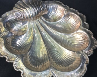 Gorham Silver Plated Shell Serving Platter Victorian Style Big