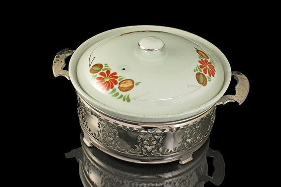 Fraunfelter Lidded Casserole with Silver Holder, Royal Rochester, Royalite