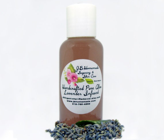 Lavender Infused Aloe – Lavender Aloe - 2 Oz - Real Lavender Aloe Vera Gel - Aloe Vera Leaf Gel with Lavender by JBHomemadeShop
