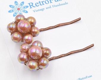 Beaded flower hair pins, copper flower bobby pins,  iridescent flower hair pin, 1950s vintage earring  hair pin, orange flower hair clip