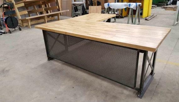 large executive desk modern industrial l shape office desk. Black Bedroom Furniture Sets. Home Design Ideas