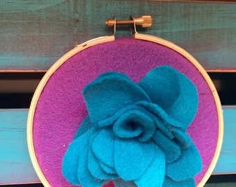 Purple and blue embroidery hoop!