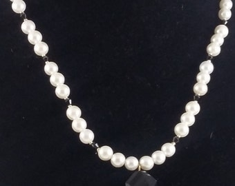 Renaissance, faux pearls, pendant, hand made, one of a kind, beaded necklace