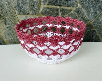 Unique Hand made with a cotton thread Basket, White and purple basket, Candy bowl, Wedding bowl, Gift for her