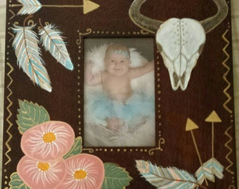 """11.25"""" Square wood picture frame,4x6 photo,Southwestern,Bohemian,feathers,animal skull,arrows,Indian,hand painted,turquoise,coral,4 by 6"""