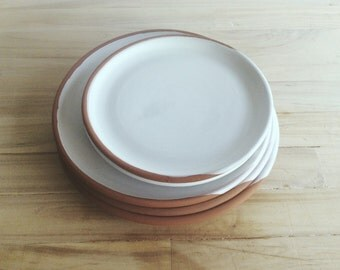 Wheel thrown terracotta set of five handmade plates , Kitchen and dinning , Organic plates , Dark red clay plates