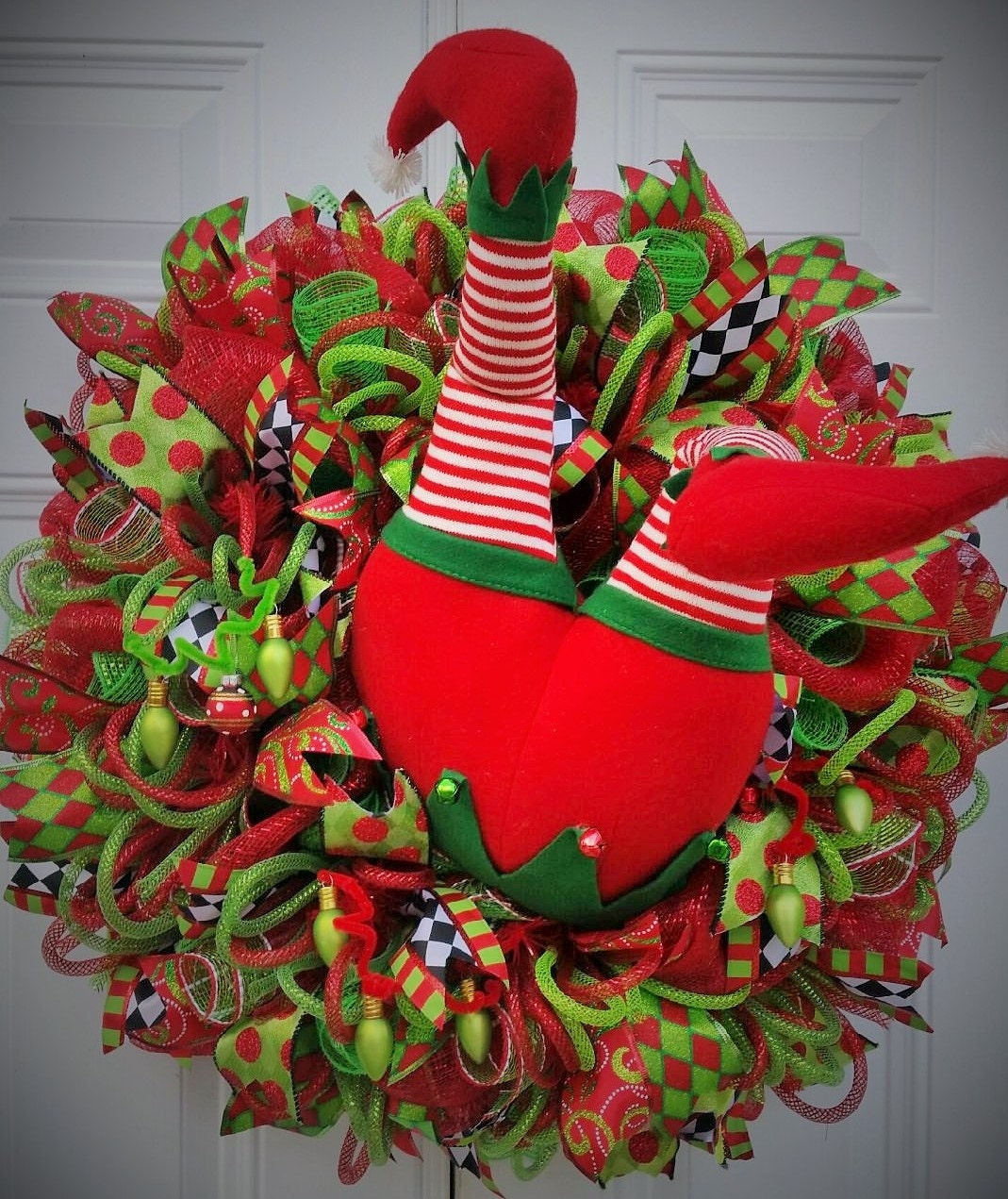 Raz Elf Butt Elf Christmas Wreath Holiday Wreath Holiday
