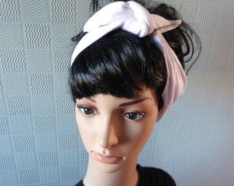 Stretch white hair scarf, white retro headband, white stretch hair wrap, rockabilly hair scarf