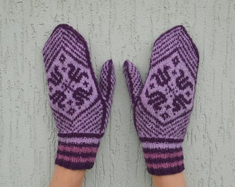 purple hand knitted patterned mittens