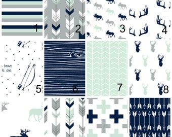 Woodland Baby Bedding - Fitted Crib Sheet, Changing Pad Cover, Crib Skirt, Crib Bumper, Blanket Grey Navy Mint Arrows Feathers Rustic Deer