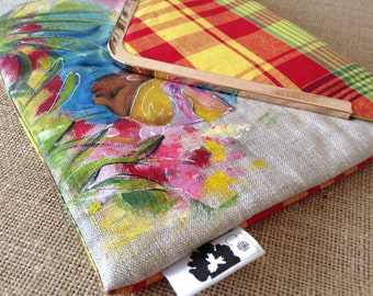 Pouch madras, great mother in the garden, hand painted clutch, Caribbean garden