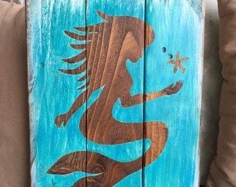 Mermaid art on wood wall decor