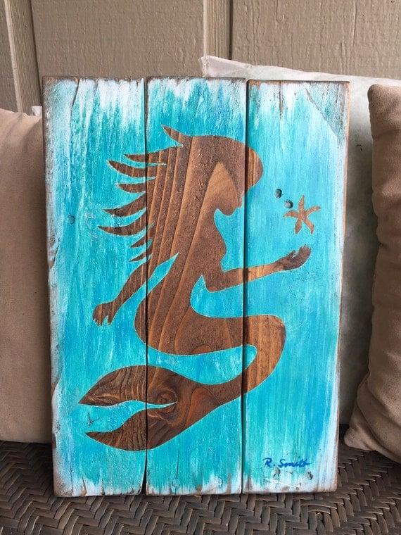 Mermaid wall decor mermaid art on wood