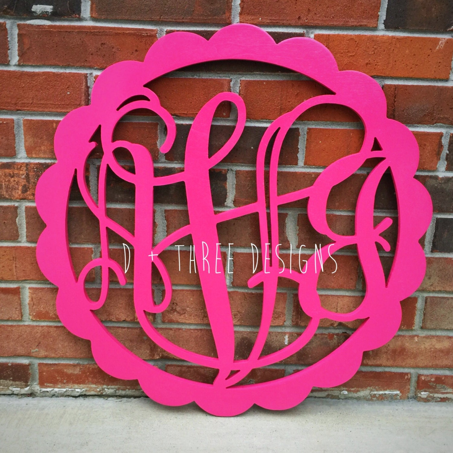 20 inch scallop painted you pick color circle wooden monogram
