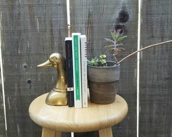 Single Vintage Brass Duck Bookend
