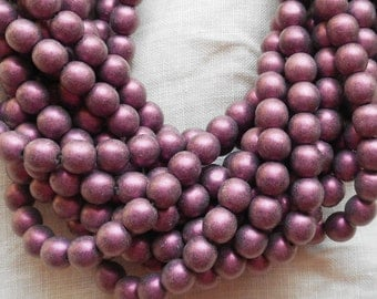 50 6mm Czech glass beads, matte metallic suede, sueded pink glass smooth round druk beads 8750