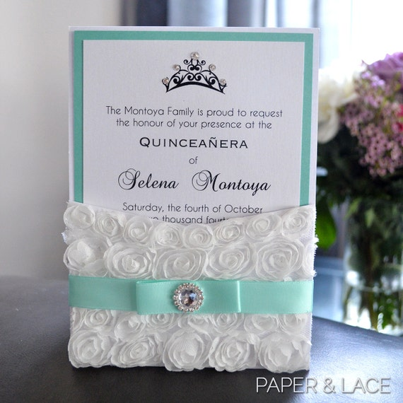 Rosette Quince Invitation - White Lace Pocket Invitation- Quinceanera Invitation with Crystal Button & Tiara - Sweet 16 (SELENA WHITE)
