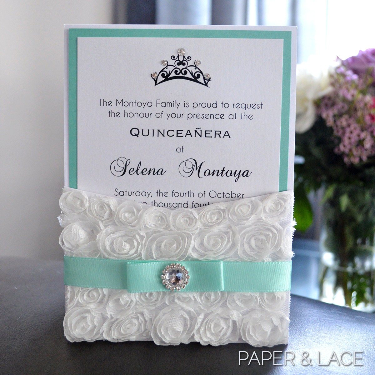 Rosette Quince Invitation White Lace Pocket Invitation