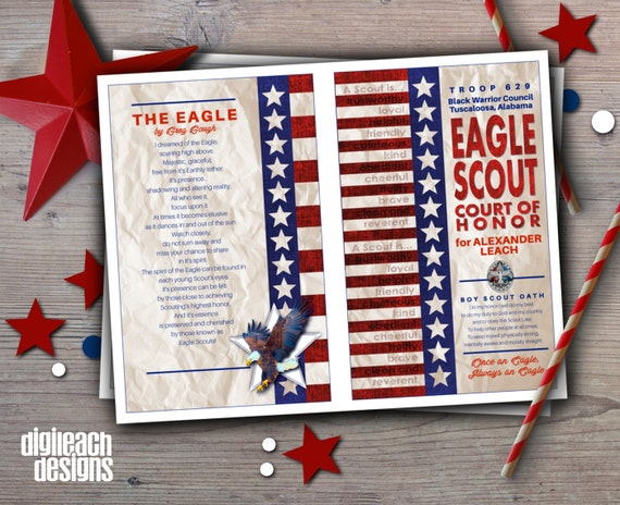 eagle scout court of honor program template - eagle scout court of honor program cover flag law oath with