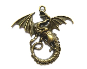5pcs 47x43mm Dragon Charms Jewelry Necklace Pendants Findings Accessories