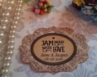 Jam packed with love. Personalized Favor Tags. Jam Wedding Favor Tags. Jam Labels. Set of 25 to 300 pieces,