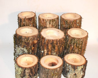 Tree Branch Candle Holders - Set of 12 - Rustic Wood Candle Holders, Tree Bark, Wooden Candle Holder