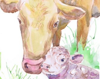 Cow Art Mother And Baby Watercolor Painting Family Cow Print Child Decor Farm animal Cow Nursery Calf Decor Farm Animal Prints Cow and Calf