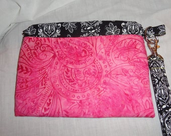 Pink and Black Wristlet, Clutch, Purse, Pouch
