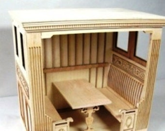 Waiting Booth - Unfinished Dollhouse miniature  roombox unfinished Restaurant Kit