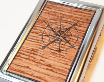 RFID Wallet - Oak Wood Compass Credit Card Case, card holder, card case, card organizer, card box, card saver, cards, card folder, credit