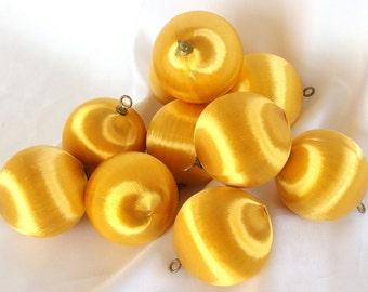 10 Vintage  Gold Satin Christmas Ornaments