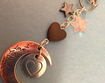 Love you to the moon and back bag charm