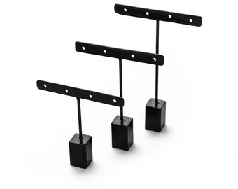 earring stand, metal, Set of 3, Sibel, black or white