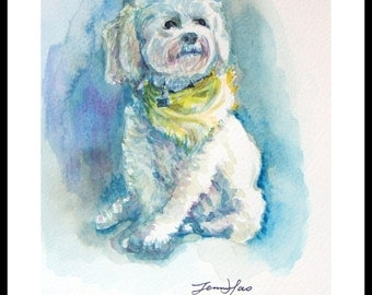 "Original Water Color Painting, White Dog with yellow cloth, with Mat 8""x10"", 150237"