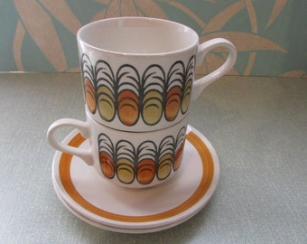 Set of 2 vintage Broadhurst Ironstone 'Cordoba' handpainted cups & saucers