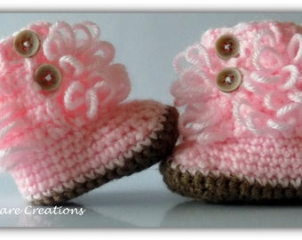 0-6 Months Loop Boots, Furrylicious Boots, Baby Booties, Crochet Booties, Baby Boots, Crochet Shoes, Baby Shoes