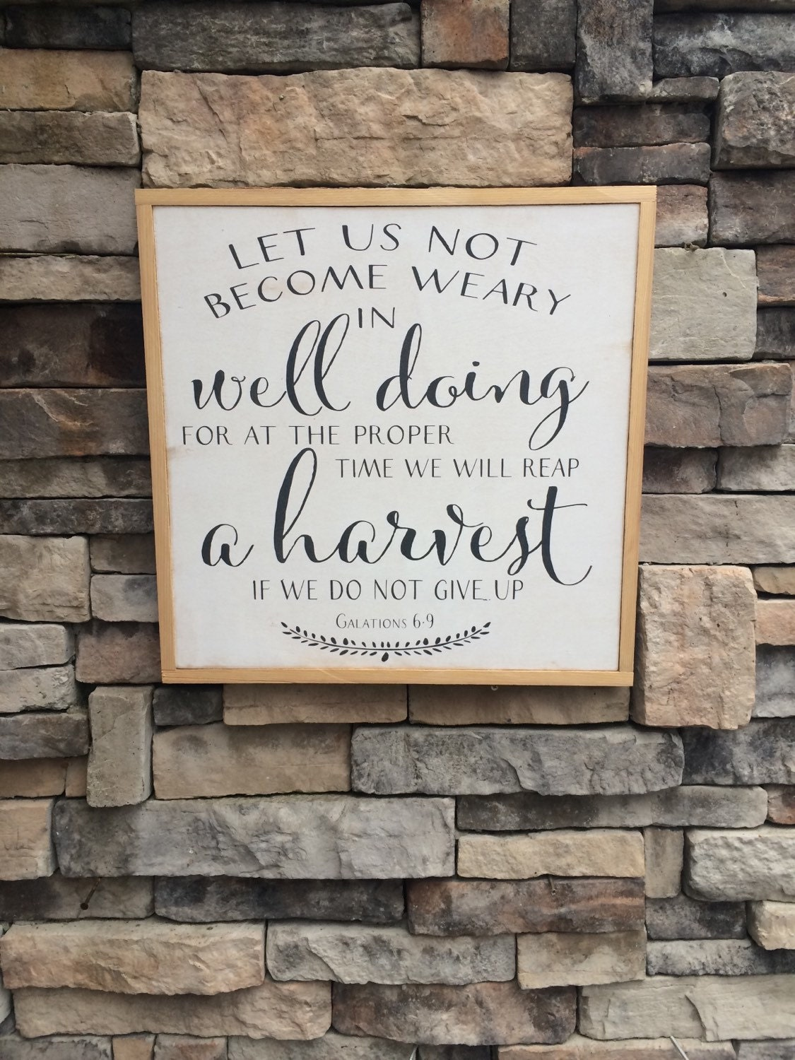 Harvest Sign On Barnwood For Fall Front Porch Decor: Wood Art Harvest Sign Let Us Not Be Weary By