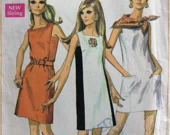 Simplicity 7679 vintage 1960's misses sheath dress sewing pattern size 16 bust 38