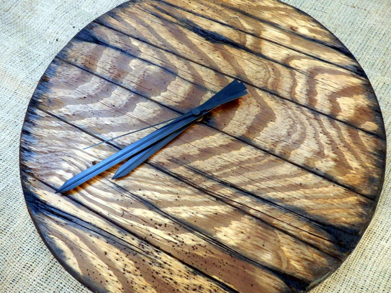 Vintage Handmade Walnut Wooden Rustic Wall Clock Long Hands