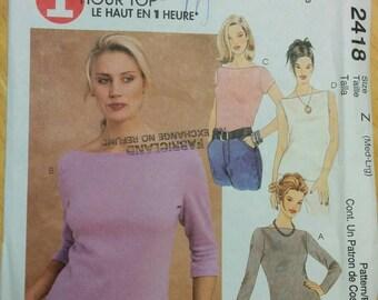 Size Med-Lrg, Stretch Knit, Bateau neck Top, Pattern