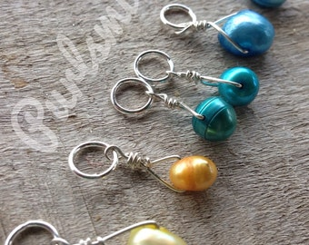 Sun & Sea Mix Freshwater Pearl and Sterling Silver Stitch Markers for Knitting, Set of 6, Knitting Notions, Gift for Knitter,