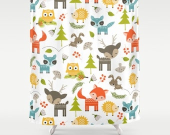 Woodland Animals Shower Curtain Kids Shower Curtain Childrens Bathroom  Decor Girls Boys Shower Curtain Boys Girls