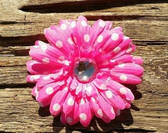 Daisy flower hair clip. hot pink daisy flower hair clip, flower hair bow, flower hair clip, flower hair accessory
