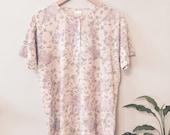 80s Floral OVERSIZED Pastel VINTAGE Summer Tee / T Shirt - Size Medium