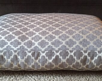 Hayden Dog Bed || River Rock || Extra Large || Light Grey || Chenille Geometric || Personalize || Custom Pillow Cover || Three Spoiled Dogs